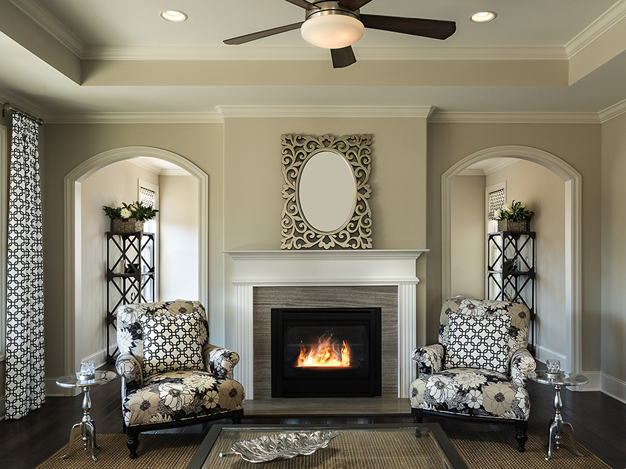 Staying warm in winter with a beautiful fireplace and four season sunroom