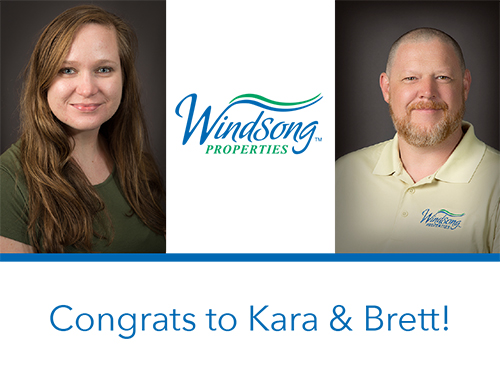Congrats to Kara and Brett on thier new roles with Windsong>
