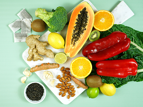 Food rich with immune system boosters. >