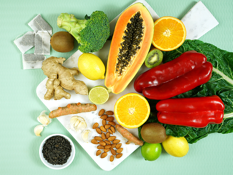 Food rich with immune system boosters.