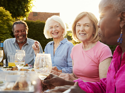Group of friends and neighbors having a summer dinner party outdoors.>