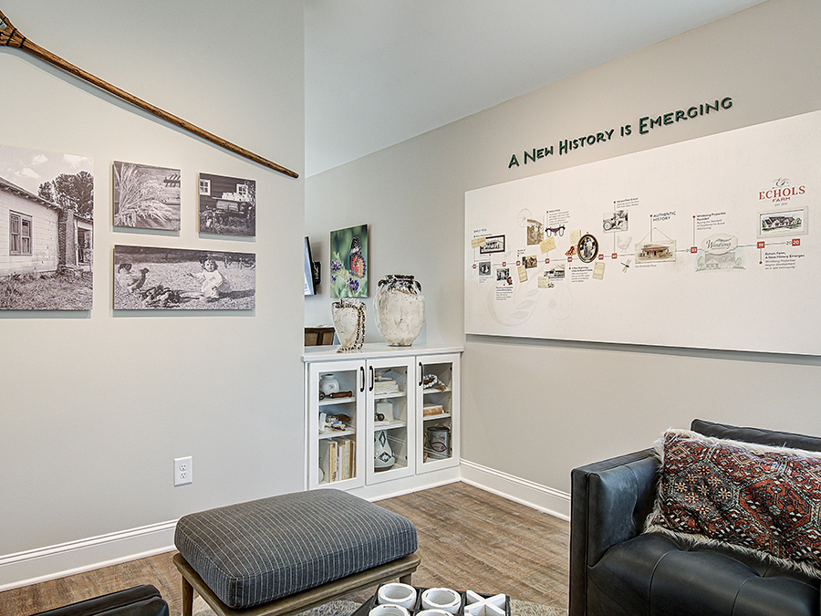 The Echols Farm Welcome Center with timeline and artifacts tells the story of the farm and family.
