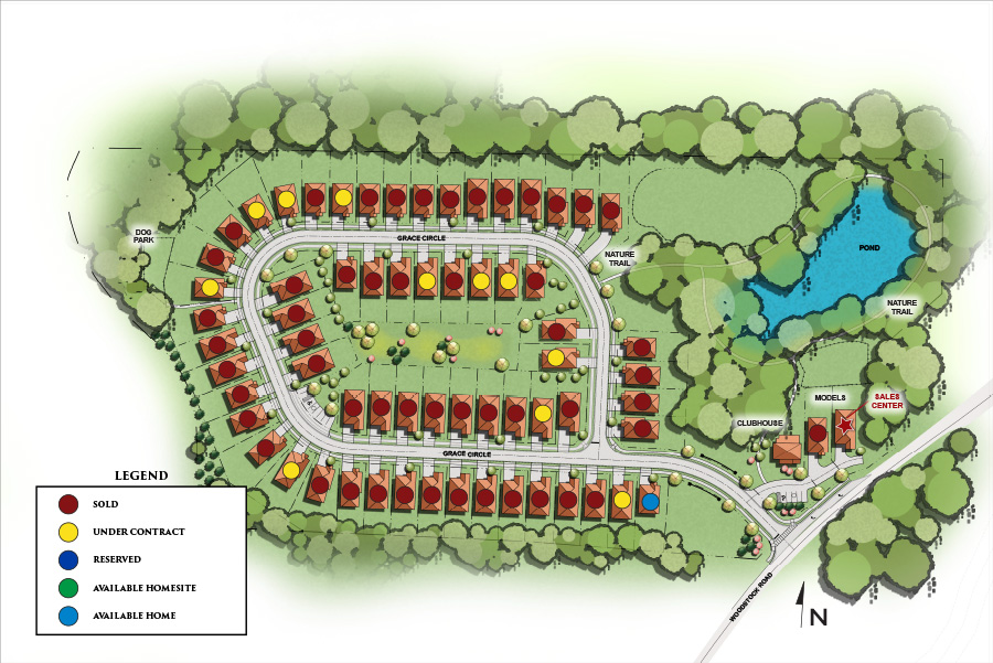 Site plan for the Grace 55+ active adult community in Acworth, GA by Windsong Properties.
