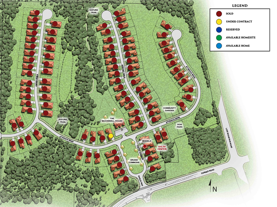 Site plan for the McConnell Green 55+ active adult community in Powder Springs, GA by Windsong Properties.