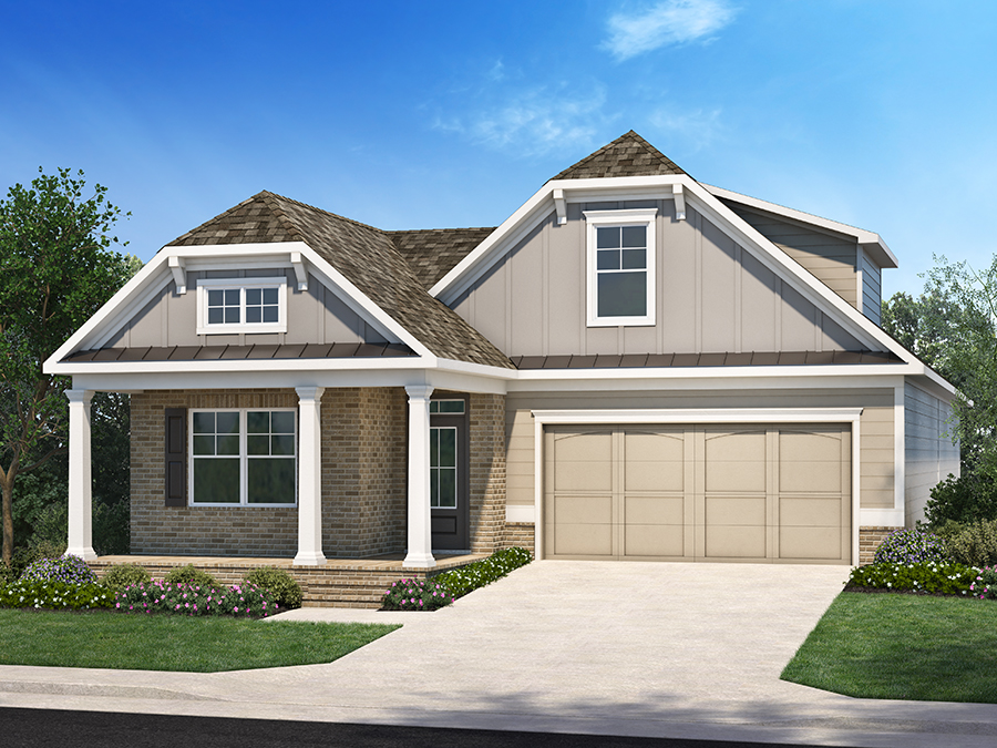 View The Allston new ranch home plan available at the Encore active adult 55+ community in Kennesaw, GA featuring 3 bedrooms with master in the back, a spacious great room, second floor storage and courtyard retreat with optional covered porch and sunroom.