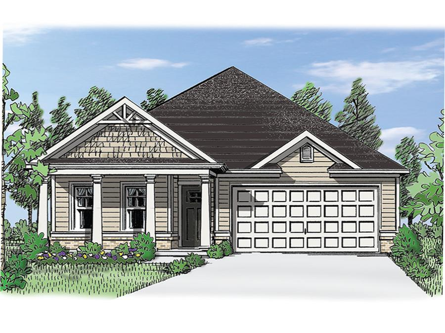 View The Ashton new ranch style home plan available at the Grace active adult community in Acworth, GA featuring 2 bedrooms, private owner's suite in back plus dual master option, an open vaulted great room with a fireplace, spacious island kitchen open to the dining, covered porches and a bonus room.