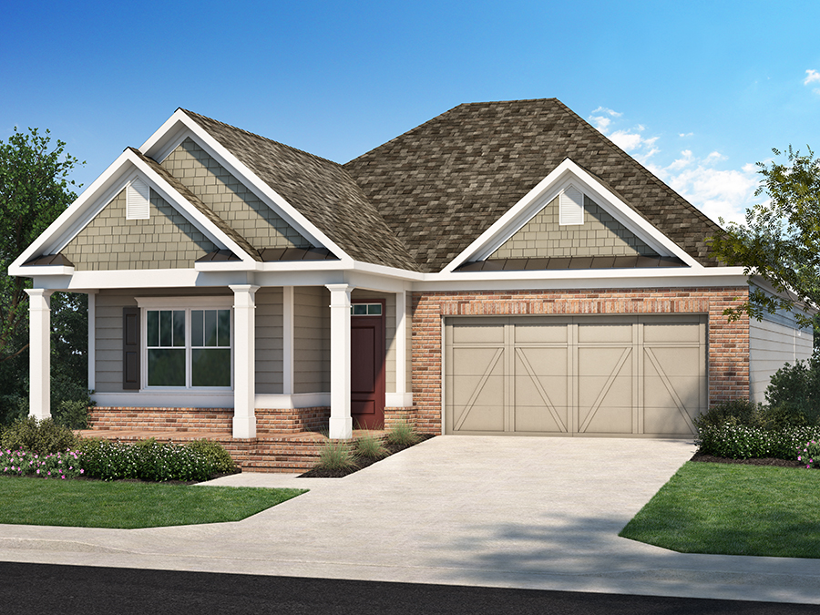 View The Allston new ranch house plan available at the Encore 55+ active adult community in Kennesaw, GA featuring 3 bedrooms with master in the back, an open kitchen and spacious great room, a study and optional rear covered porch or sunroom.
