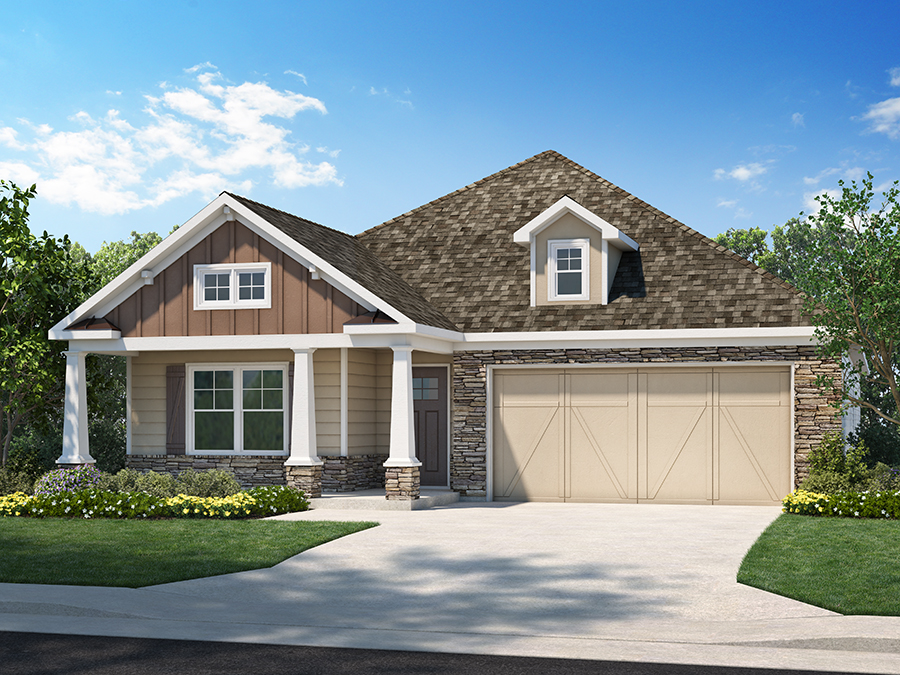 View The Hadley new ranch home floor plan available at the McConnell Green 55+ active adult community in Powder Springs, GA featuring 2 bedrooms, master suite in the back, an open kitchen, spacious great room and a study.