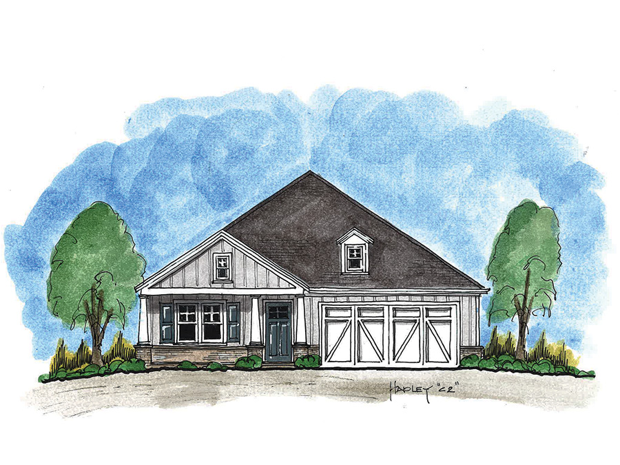 Hadley elevation C at Echols Farm a new 55+ community in Hiram, Georgia just outside Atlanta