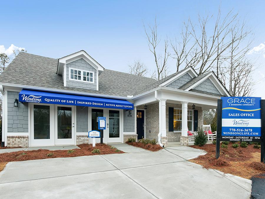 The Grace active adult community sales office is located 6313 Woodstock Road, Acworth, GA 30102.